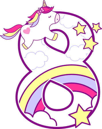 Nummer 8 met schattige Eenhoorn en regenboog. kan worden gebruikt voor aankondigingen van de geboorte van een baby, kinderkamer decoratie, een feestthema of een verjaardagsuitnodiging. Ontwerp voor baby en kinderen