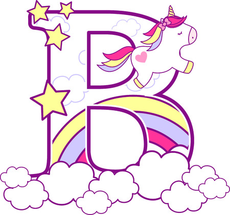Initial b with cute unicorn and rainbow. can be used for baby birth announcements, nursery decoration, party theme or birthday invitation. Design for baby and children