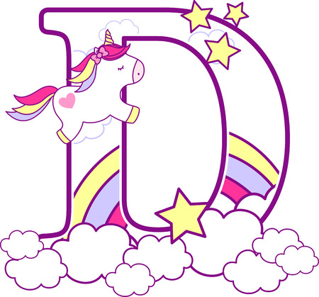 Initial d with cute unicorn and rainbow. can be used for baby birth announcements, nursery decoration, party theme or birthday invitation. Design for baby and children 写真素材 - 101260907