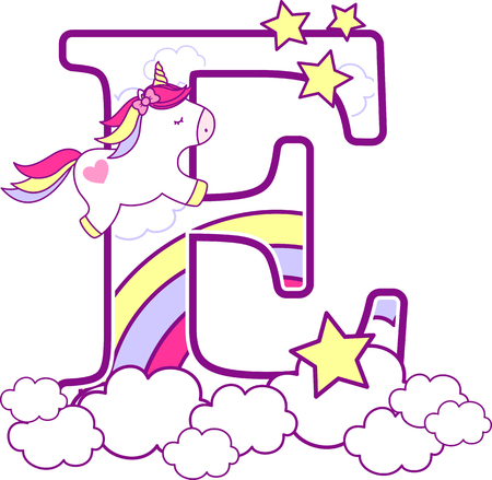 Initial e with cute unicorn and rainbow. can be used for baby birth announcements, nursery decoration, party theme or birthday invitation. Design for baby and children