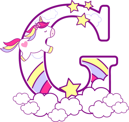 Initial g with cute unicorn and rainbow. can be used for baby birth announcements, nursery decoration, party theme or birthday invitation. Design for baby and children