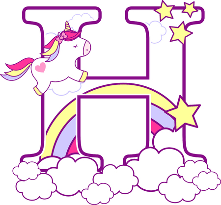 Initial h with cute unicorn and rainbow. can be used for baby birth announcements, nursery decoration, party theme or birthday invitation. Design for baby and children