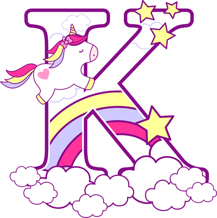 Initial k with cute unicorn and rainbow. can be used for baby birth announcements, nursery decoration, party theme or birthday invitation. Design for baby and children Vettoriali
