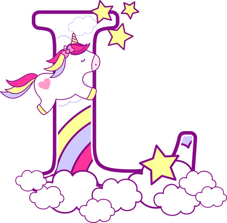 Initial l with cute unicorn and rainbow. can be used for baby birth announcements, nursery decoration, party theme or birthday invitation. Design for baby and children