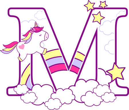Initial m with cute unicorn and rainbow. can be used for baby birth announcements, nursery decoration, party theme or birthday invitation. Design for baby and children