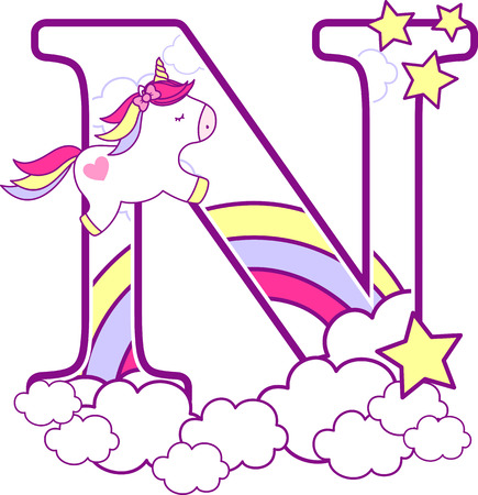 Initial n with cute unicorn and rainbow. can be used for baby birth announcements, nursery decoration, party theme or birthday invitation. Design for baby and children 免版税图像 - 101260917