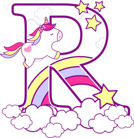 Initial r with cute unicorn and rainbow. can be used for baby birth announcements, nursery decoration, party theme or birthday invitation. Design for baby and children