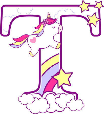 Initial t with cute unicorn and rainbow. can be used for baby birth announcements, nursery decoration, party theme or birthday invitation. Design for baby and children