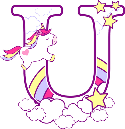 Initial u with cute unicorn and rainbow. can be used for baby birth announcements, nursery decoration, party theme or birthday invitation. Design for baby and children