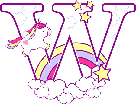 Initial w with cute unicorn and rainbow. can be used for baby birth announcements, nursery decoration, party theme or birthday invitation. Design for baby and children Vettoriali