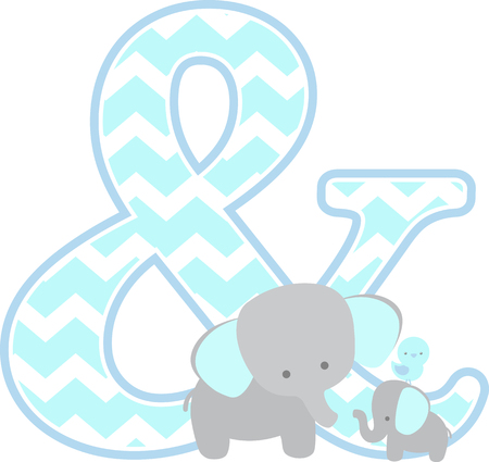 ampersand symbol with cute elephant and little baby elephant isolated on white background. can be used for father's day card, baby boy birth announcements, nursery decoration, party theme or birthday invitation Illustration