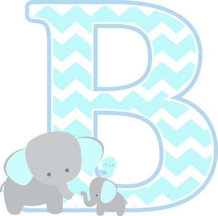 initial b with cute elephant and little baby elephant isolated on white background. can be used for fathers day card, baby boy birth announcements, nursery decoration, party theme or birthday invitation