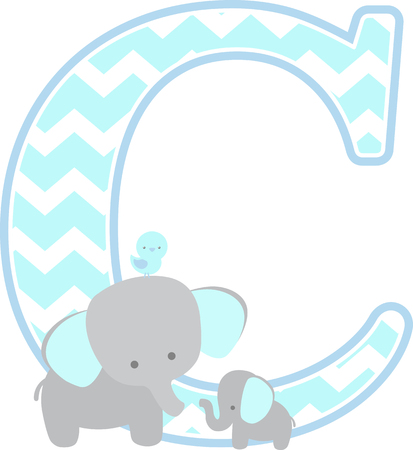initial c with cute elephant and little baby elephant isolated on white background. can be used for father's day card, baby boy birth announcements, nursery decoration, party theme or birthday invitation