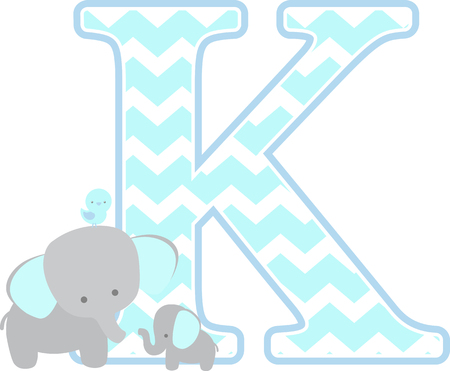 initial k with cute elephant and little baby elephant isolated on white background. can be used for fathers day card, baby boy birth announcements, nursery decoration, party theme or birthday invitation