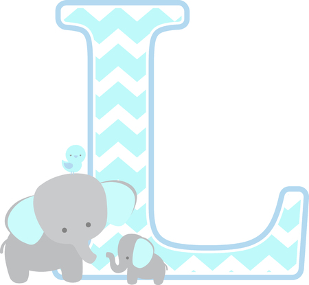 initial l with cute elephant and little baby elephant isolated on white background. can be used for father's day card, baby boy birth announcements, nursery decoration, party theme or birthday invitation