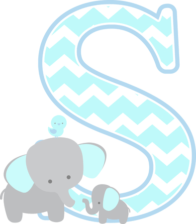 initial s with cute elephant and little baby elephant isolated on white background. can be used for father's day card, baby boy birth announcements, nursery decoration, party theme or birthday invitation