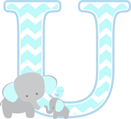 initial u with cute elephant and little baby elephant isolated on white background. can be used for father's day card, baby boy birth announcements, nursery decoration, party theme or birthday invitation Stock Illustratie