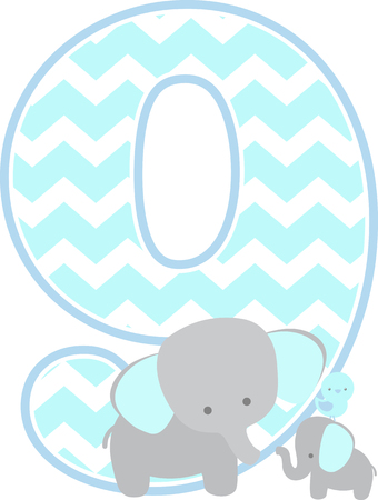 number 9 with cute elephant and little baby elephant isolated on white background. can be used for father's day card, baby boy birth announcements, nursery decoration, party theme or birthday invitation