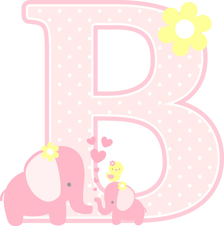 initial b with cute elephant and little baby elephant isolated on white. can be used for mothers day card, baby girl birth announcements, nursery decoration, party theme or birthday invitation Illustration