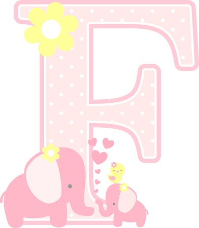 initial f with cute elephant and little baby elephant isolated on white. can be used for mother's day card, baby girl birth announcements, nursery decoration, party theme or birthday invitation