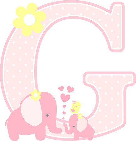 initial g with cute elephant and little baby elephant isolated on white. can be used for mother's day card, baby girl birth announcements, nursery decoration, party theme or birthday invitation