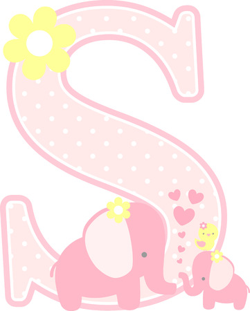 initial s with cute elephant and little baby elephant isolated on white. can be used for mother's day card, baby girl birth announcements, nursery decoration, party theme or birthday invitation Illusztráció