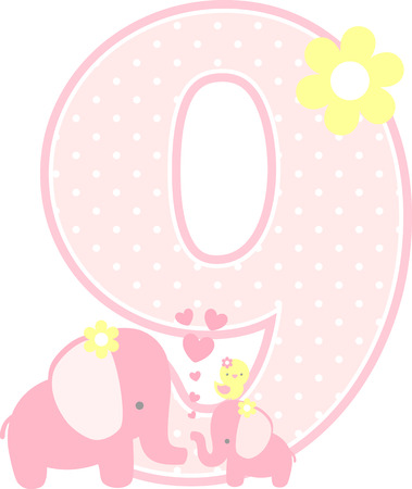 number 9 with cute elephant and little baby elephant isolated on white. can be used for mother's day card, baby girl birth announcements, nursery decoration, party theme or birthday invitation