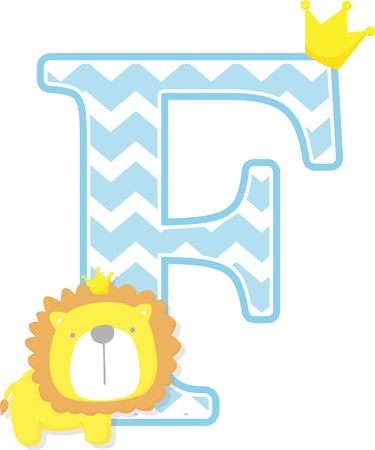 initial f with cute little lion king with golden crown isolated on white background. can be used for father's day card, baby boy birth announcements, nursery decoration, party theme or birthday invitation Ilustração
