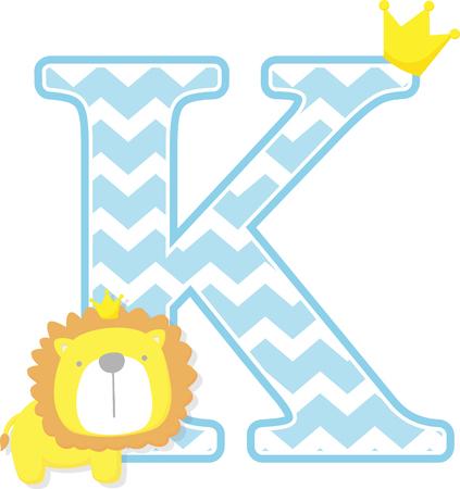 Initial k mit niedlichen kleinen Löwenkönig mit goldener Krone auf weißem Hintergrund. kann für Vatertagskarte, Geburtsankündigungen für Babys, Kinderzimmerdekoration, Partythema oder Geburtstagseinladung verwendet werden