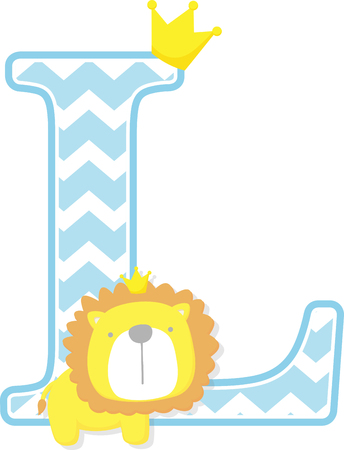 initial l with cute little lion king with golden crown isolated on white background. can be used for father's day card, baby boy birth announcements, nursery decoration, party theme or birthday invitation