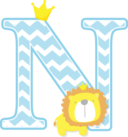 initial n with cute little lion king with golden crown isolated on white background. can be used for father's day card, baby boy birth announcements, nursery decoration, party theme or birthday invitation