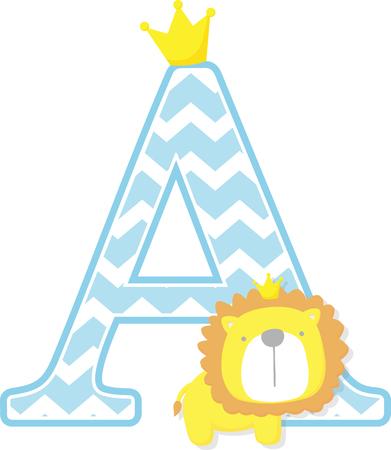 A inicial con lindo y pequeño rey león con corona de oro aislado sobre fondo blanco. Se puede utilizar para tarjetas del día del padre, anuncios de nacimiento de bebés, decoración de guardería, tema de fiesta o invitación de cumpleaños.