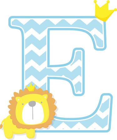 E inicial con lindo y pequeño rey león con corona de oro aislado sobre fondo blanco. Se puede utilizar para tarjetas del día del padre, anuncios de nacimiento de bebés, decoración de guardería, tema de fiesta o invitación de cumpleaños. Ilustración de vector