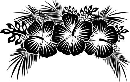 flores de hibisco con hojas tropicales en blanco y negro
