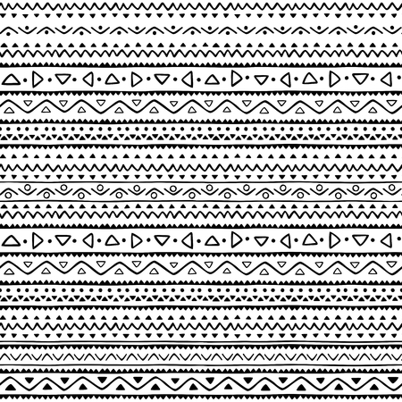 geometric abstract seamless pattern, modern hand drawn style ethnic inspired in black and white