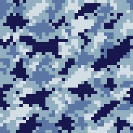 textura pixelada camuflaje azul militar de patrones sin fisuras Ilustración de vector