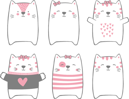 set of cute funny cats isolated on white. modern hand drawn style. design for baby and child
