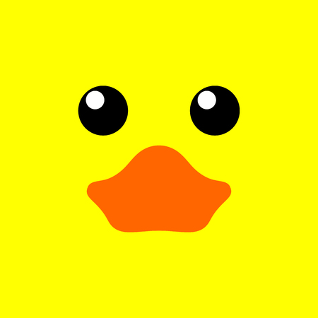cute duck face on yellow background, minimalist flat illustration design for baby and kids