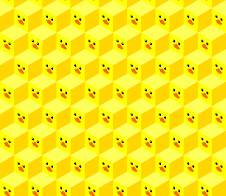 seamless pattern of isometric cubes with flat design cute duck face Иллюстрация