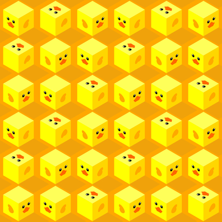 seamless pattern of isometric cubes with flat design cute duck face on orange background Иллюстрация