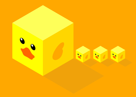 illustration of isometric cubes with flat design cute duck face, mom and three little cube ducks on orange background Иллюстрация