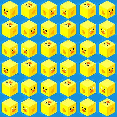 seamless pattern of isometric cubes with flat design cute duck face on blue background Иллюстрация