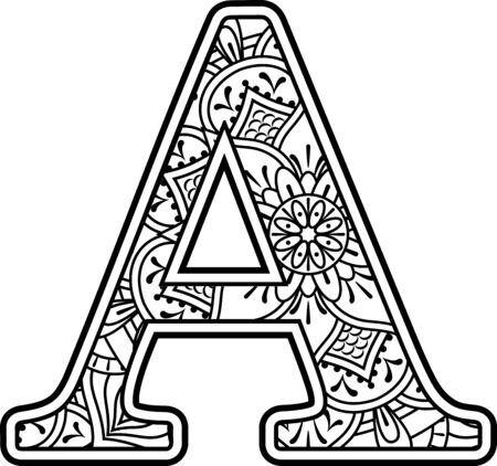 inicial a en blanco y negro con adornos de doodle y elementos de diseño del estilo de arte mandala para colorear. Aislado sobre fondo blanco Ilustración de vector