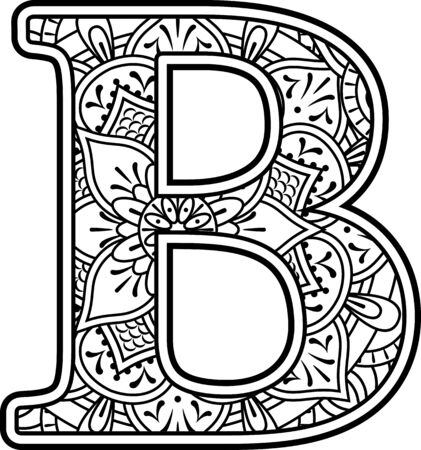 initial b in black and white with doodle ornaments and design elements from mandala art style for coloring. Isolated on white background Векторная Иллюстрация