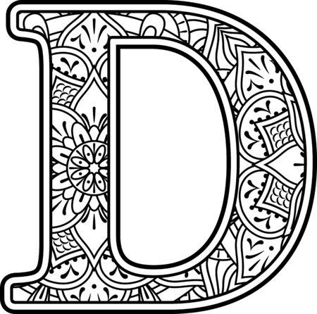 Initial d in Schwarzweiß mit Doodle-Ornamenten und Designelementen aus dem Mandala-Art-Stil zum Ausmalen. Isoliert auf weißem Hintergrund