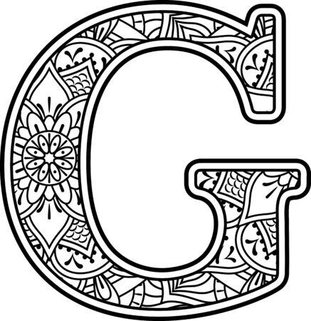iniziale g in bianco e nero con ornamenti scarabocchiati ed elementi di design dallo stile artistico mandala per la colorazione. Isolato su sfondo bianco