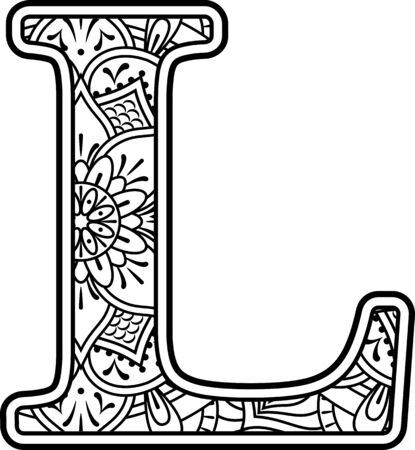 initial l in black and white with doodle ornaments and design elements from mandala art style for coloring. Isolated on white background