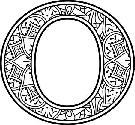 initial o in black and white with doodle ornaments and design elements from mandala art style for coloring. Isolated on white background
