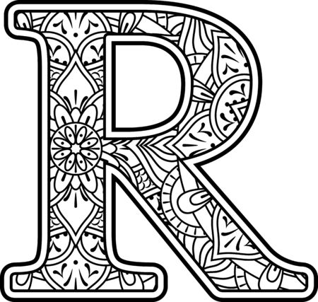 initial r in black and white with doodle ornaments and design elements from mandala art style for coloring. Isolated on white background