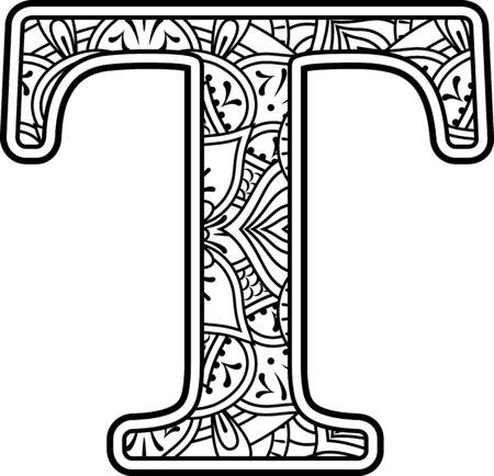 iniziale t in bianco e nero con ornamenti scarabocchiati ed elementi di design dallo stile artistico mandala per la colorazione. Isolato su sfondo bianco Vettoriali